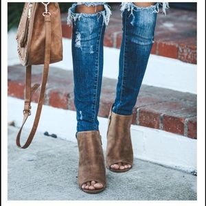 Shoes - Brown Peep Toe Side Slit Booties